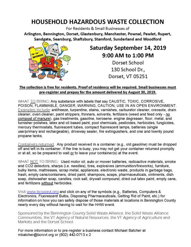 Fall Home Hazardous Waste Day 9-14-19