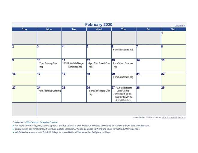 Calendar 2020 Feb