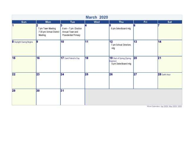 Calendar 2020 March