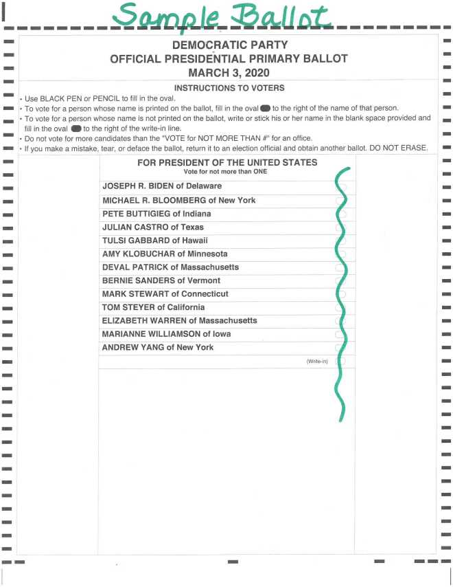 Democratic Primary Ballot 3-3-2020
