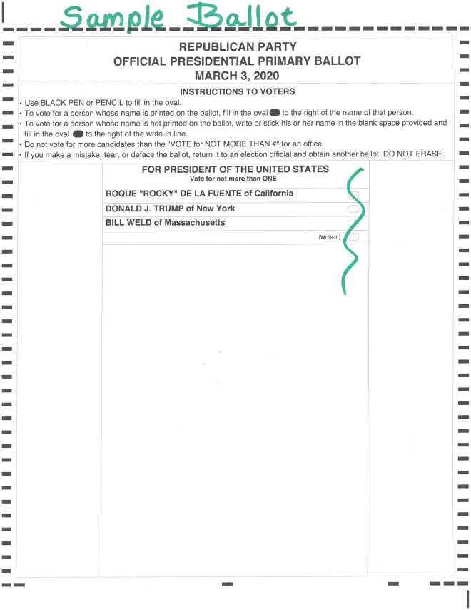 Republican Primary Ballot 3-3-2020