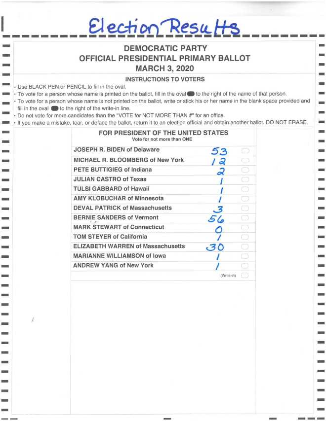 Democratic Primary Ballot 3-3-20