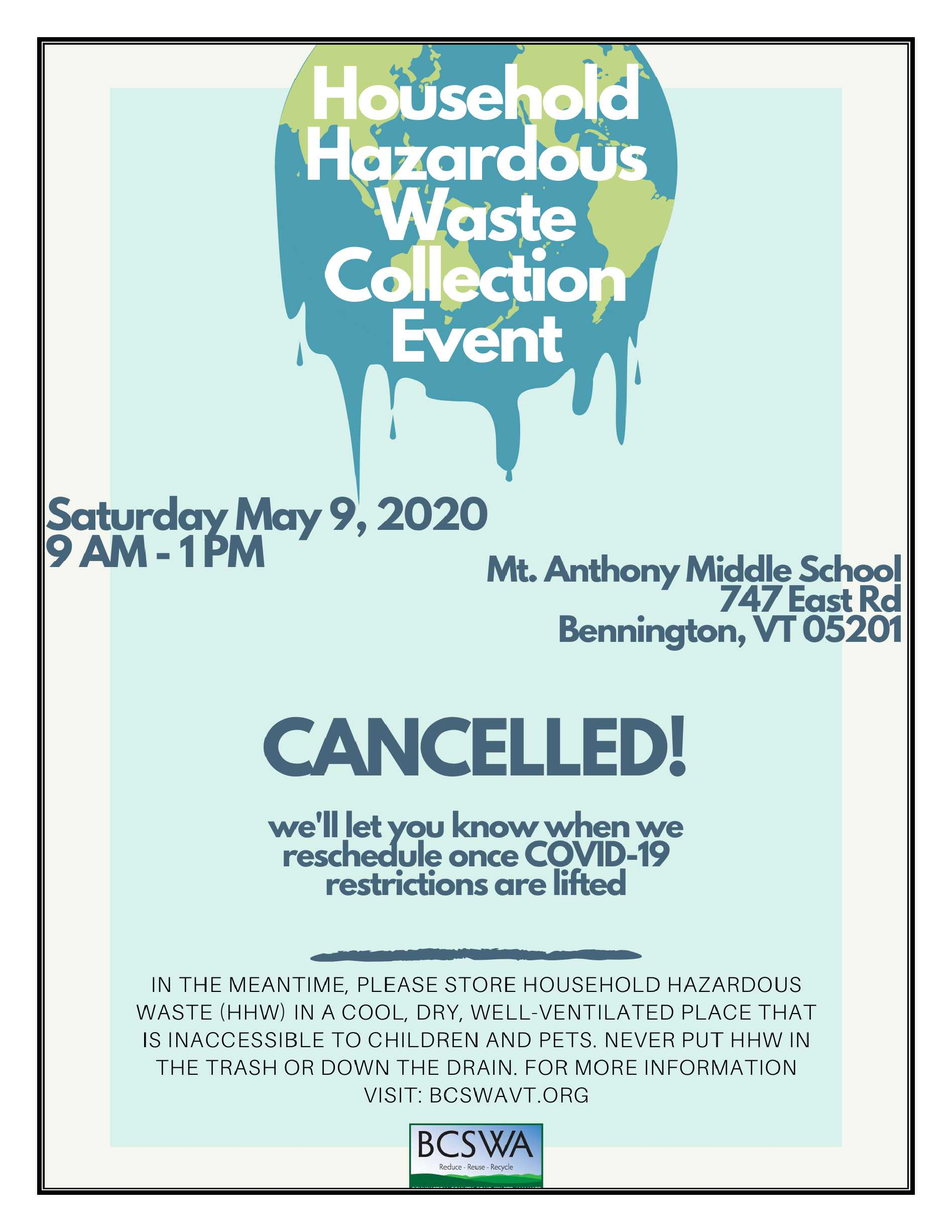 HHW Day Spring 2020 Cancelled Flyer